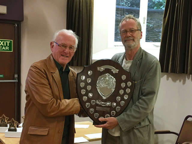 Derek Scantlebury receives the Rapidplay trophy on behalf of Plymouth.